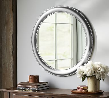 Silver Beaded Round Mirror At Pottery Barn Decor