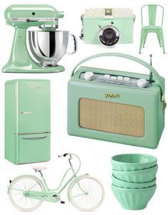 Aqua Turquoise Mint Green Blue Seafoam Tiffany Vintage Fridge The Retro Radio Chair And Cake Mixer Home Decor Bicycle Camera