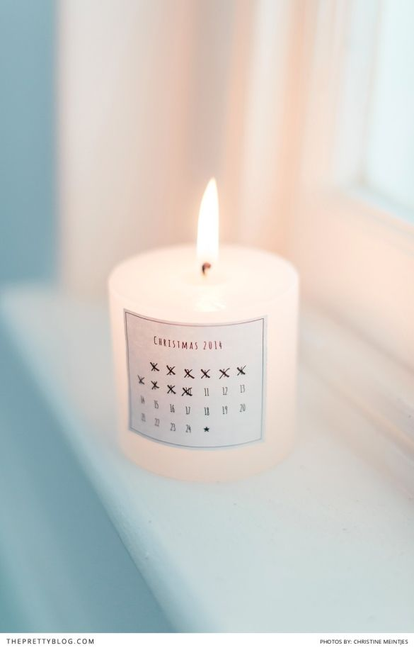 One of our new Christmas Printables.  Monochrome advent calendar to stick on a candle. now available on @theprettyblog for free download.