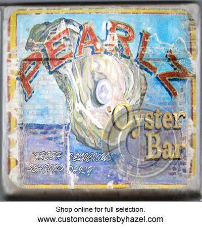 Pearlz Oyster Bar Charleston, SC. Marble Stone Coaster. http://yhst-128736562315201.stores.yahoo.net/charleston2.html