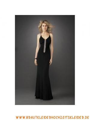 Schlichtes schwarzes Abendkleid aus Chiffon mit Kristall und Spaghetti-Träger