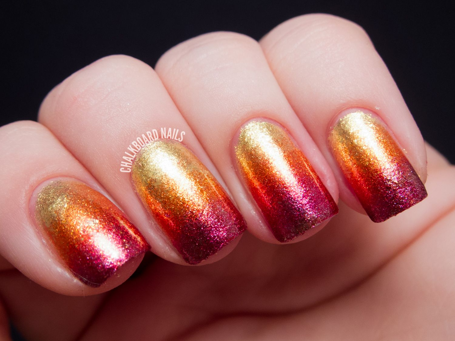 Stunning Ombre Nail Art Design Idea With Purple And Orange And Gold ...