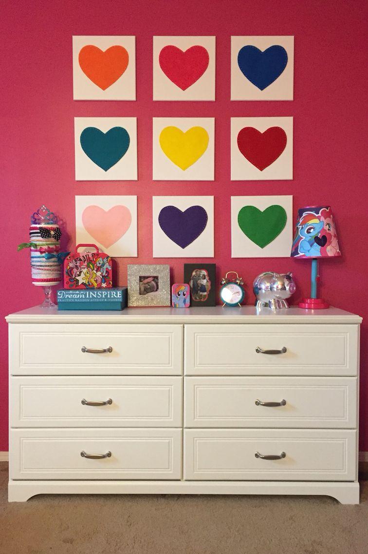 Diy wall art for girlus bedroom felt hearts sewn on canvas