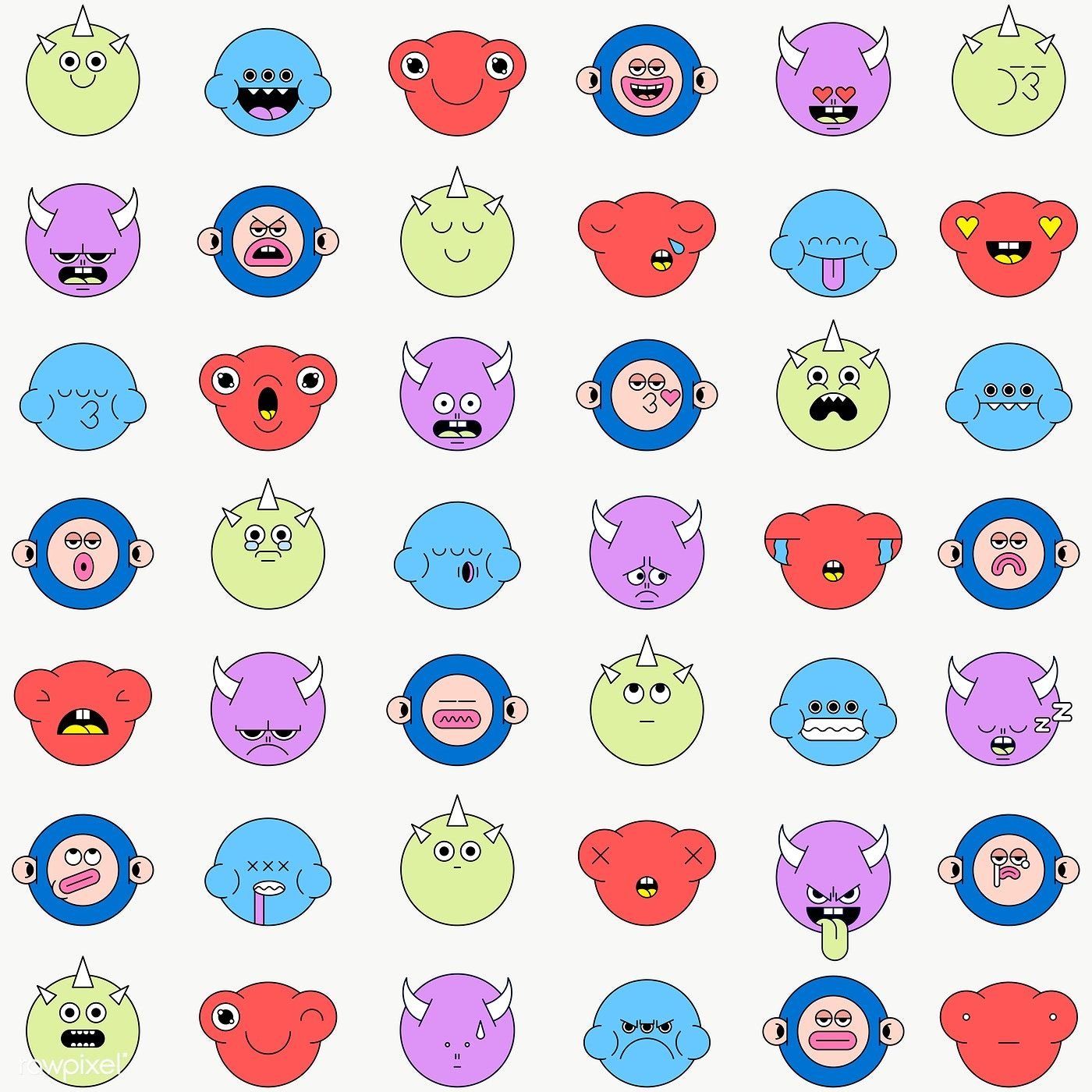 Download Premium Png Of Mixed Funky Monster Emoji Stickers Set Transparent Emoji Stickers Sticker Set Emoticon Stickers