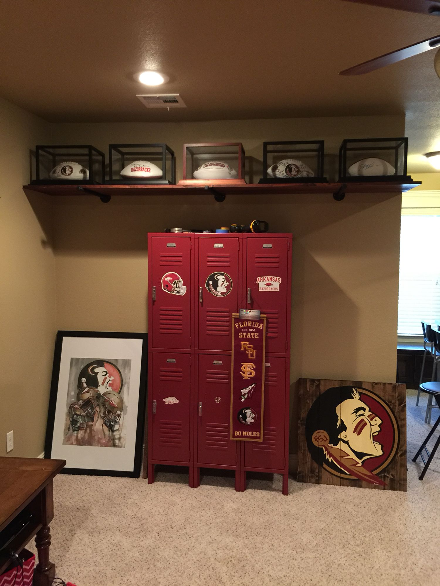 Mancave Coming Along Thank You For Your Help With Our Pinterest Project Of Autograph Footballs Shelve Marksmithco Man Cave Bar Diy Man Cave Man Cave Home Bar