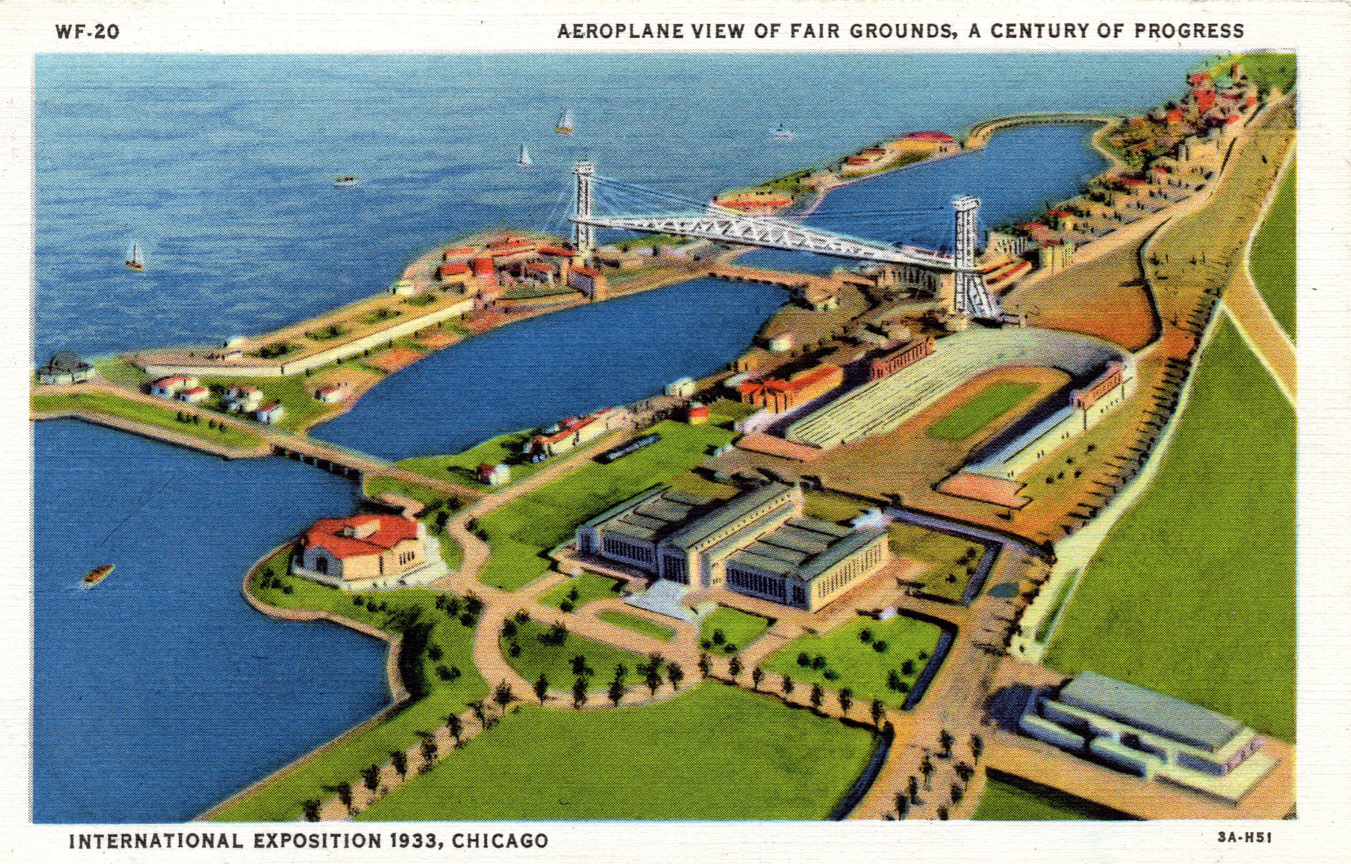 1933 CHICAGO WORLD'S FAIR AEROPLANE VIEW OF FAIR GROUNDS