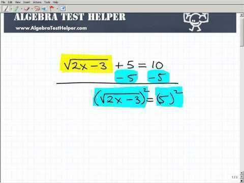 Watch this example of solving a radical equation. | Algebra 1/2 ...