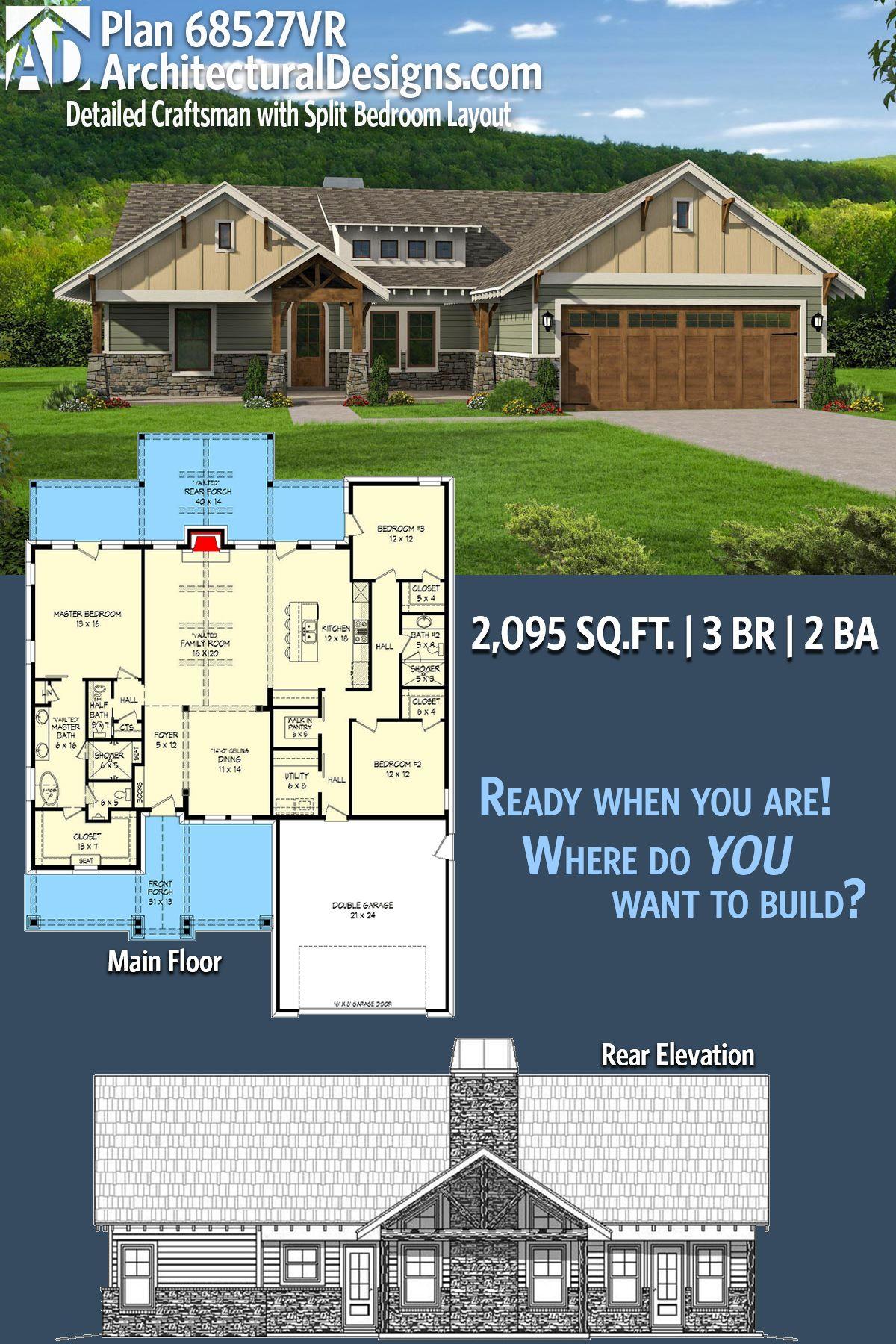 architectural designs craftsman house plan 68527vr has 3 split-beds