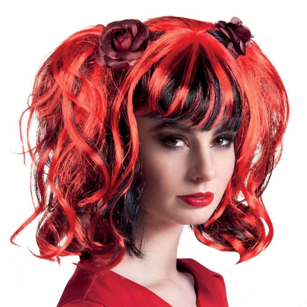 Perücke Gothic Rose rot - schwarze Haare mit zwei Zöpfen