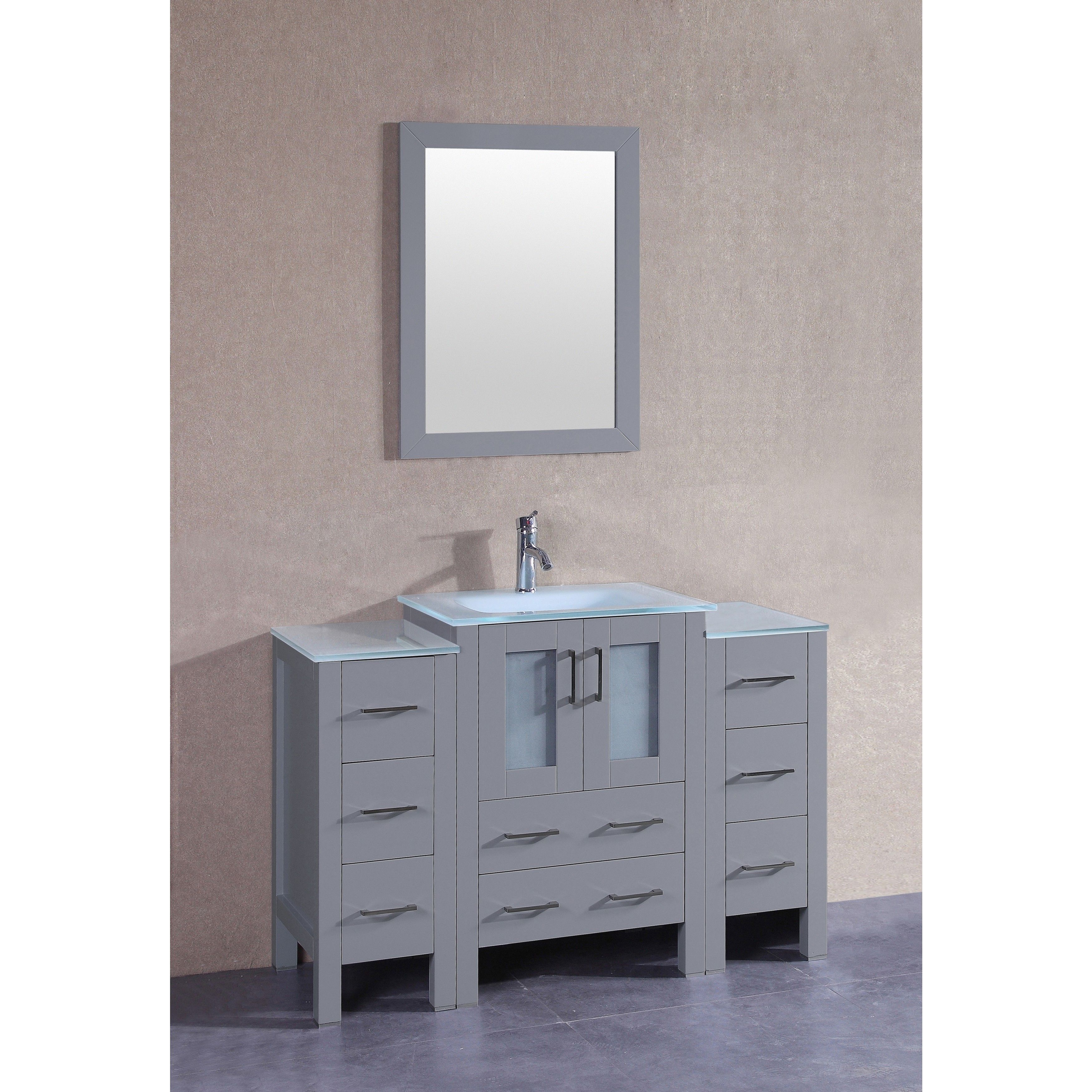 Bosconi 48-inch Single Vanity Set with Frosted Tempered Glass Tops