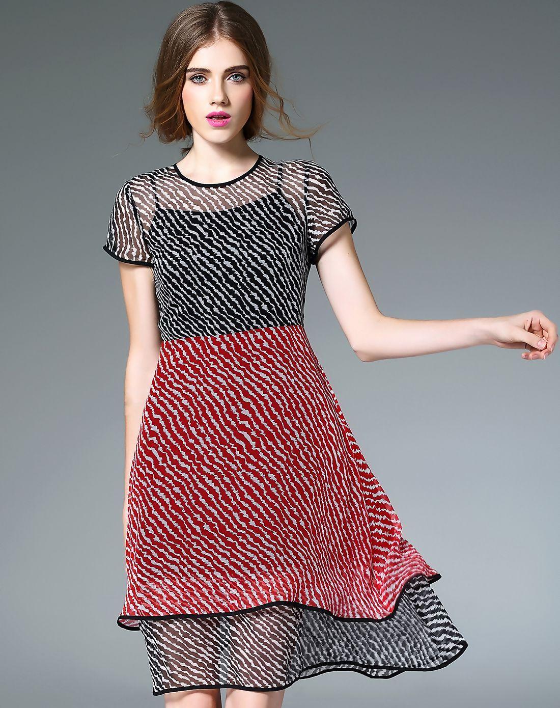 d539fd75a2c  AdoreWe  VIPme A-Line Dresses - Designer Fantiow Black Silk Contrast Color  A-line Midi Dress - AdoreWe.com