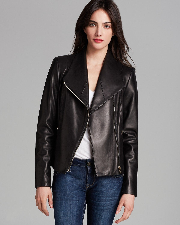 Calvin Klein Asymmetric Zip Leather Jacket Women Coats Jackets Bloomingdale S Zipped Leather Jacket Leather Jackets Women Leather Jacket [ 1500 x 1200 Pixel ]