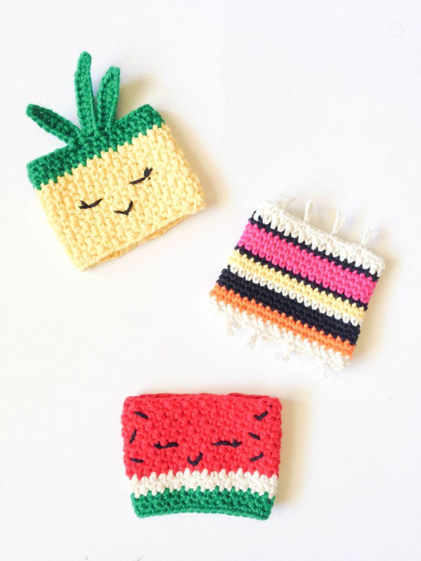 Pineapple & watermelon cup cozy   Crochê   Pinterest   Manualidades ...