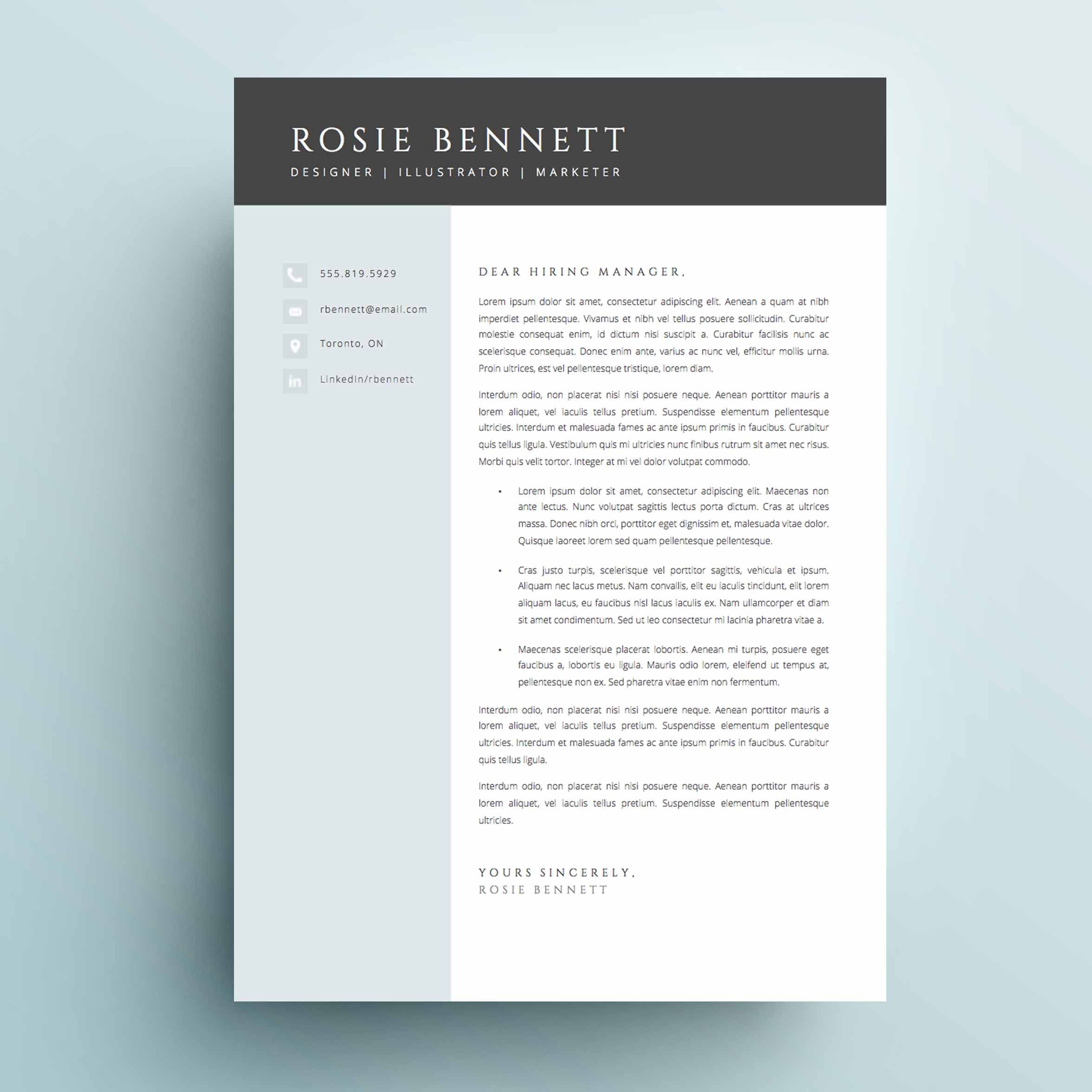 The Rosie Resume Cv Template Package For Microsoft