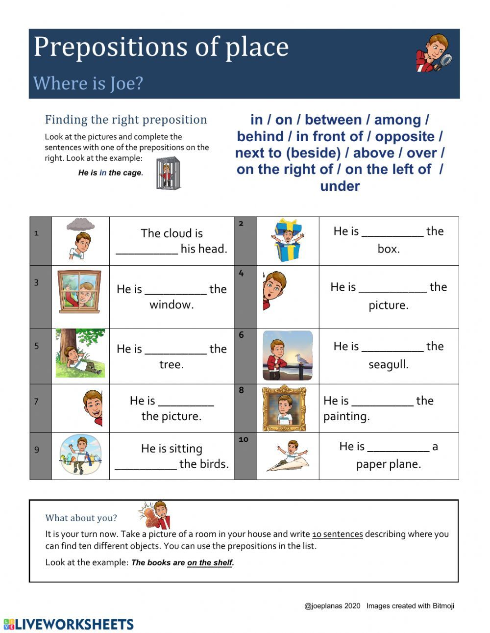 Where Is Joe Prepositions Of Place Interactive Worksheet Prepositions Worksheets English As A Second Language Esl