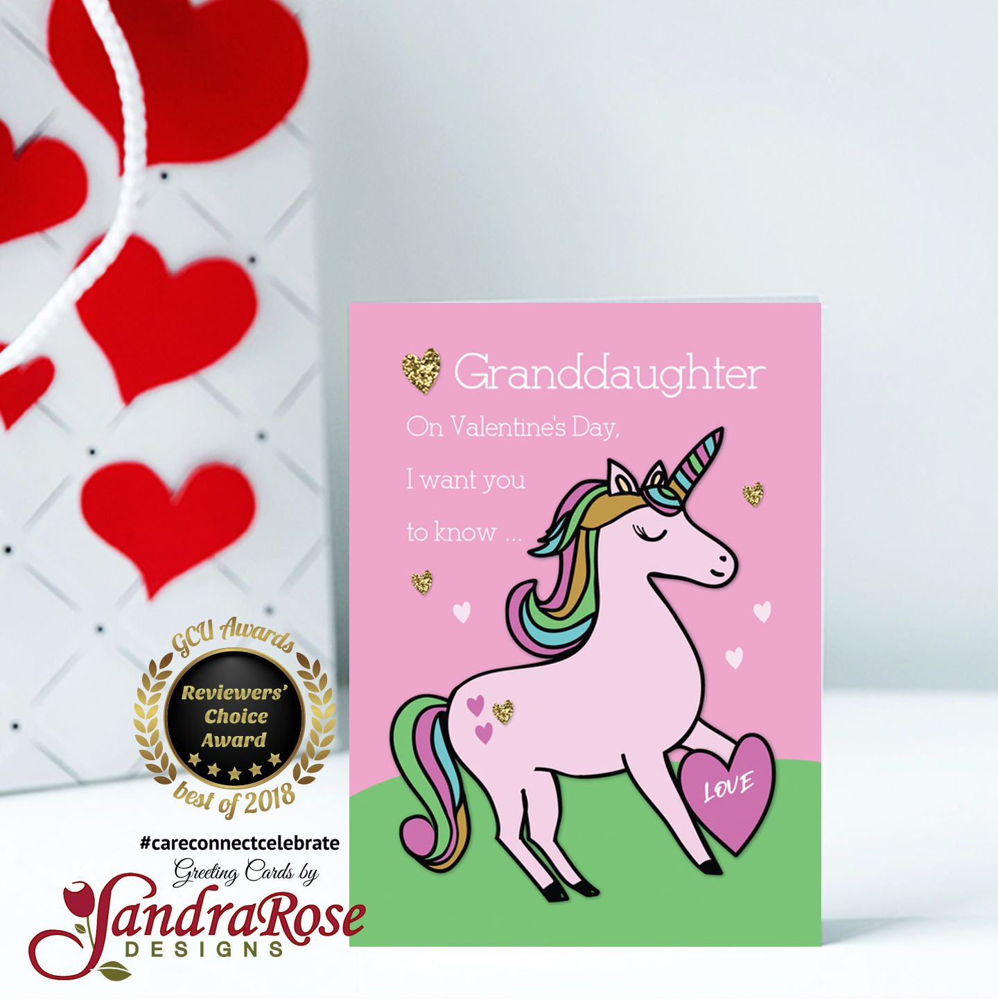 Granddaughter Magical Unicorn Valentine's Day card