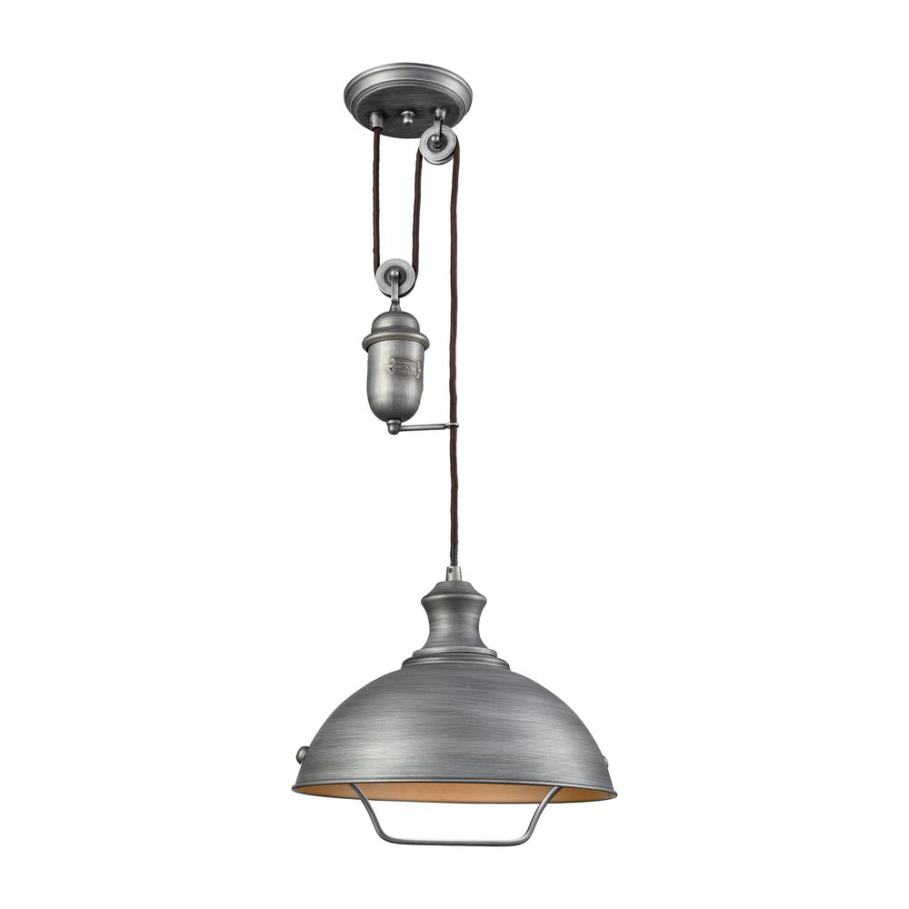 Titan Lighting Farmhouse 1 Light Weathered Zinc Pulldown Pendant Elk Lighting Glass Pendant Light