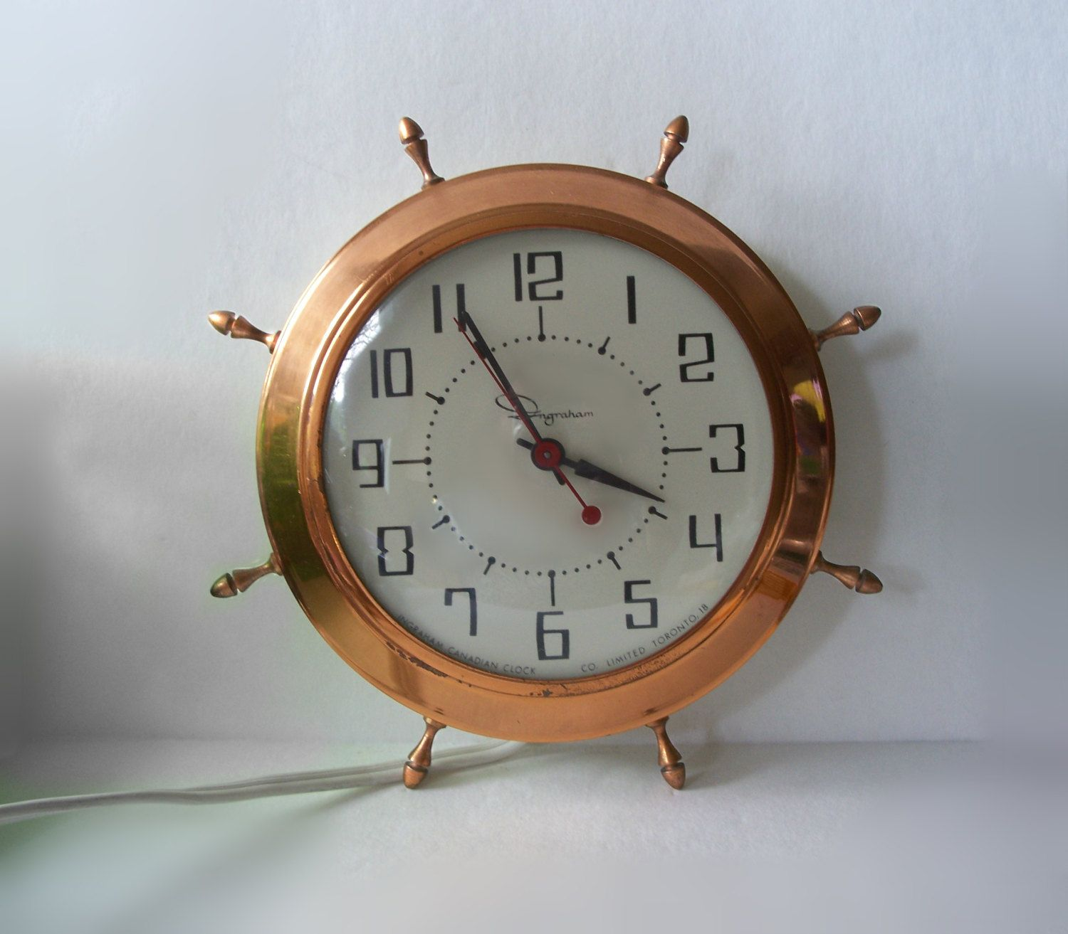 Retro Electric Kitchen Wall Clocks: Ingraham Ships Wheel Nautical Electric Wall Clock Copper & Cream • Vintage