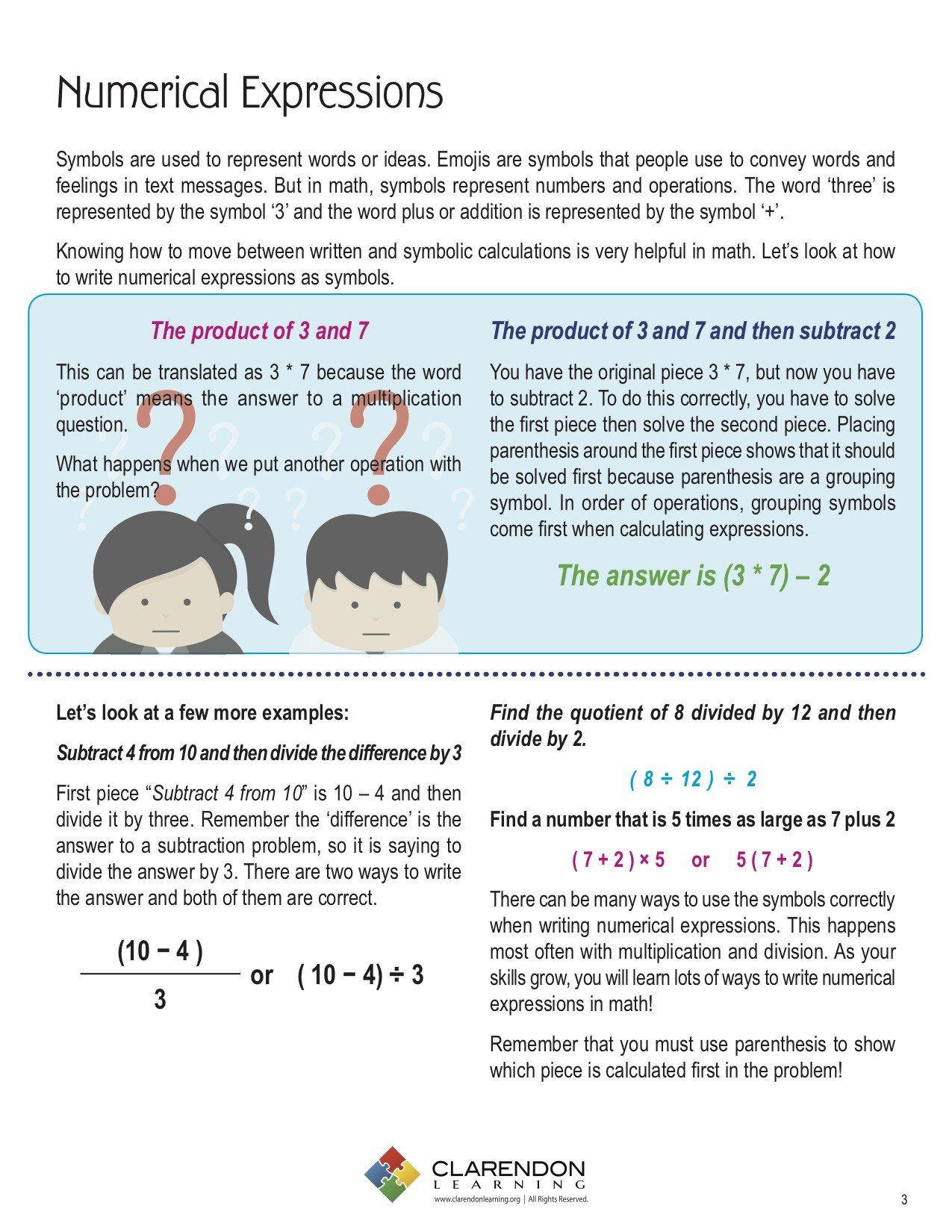 Writing Numerical Expressions Worksheet Numerical