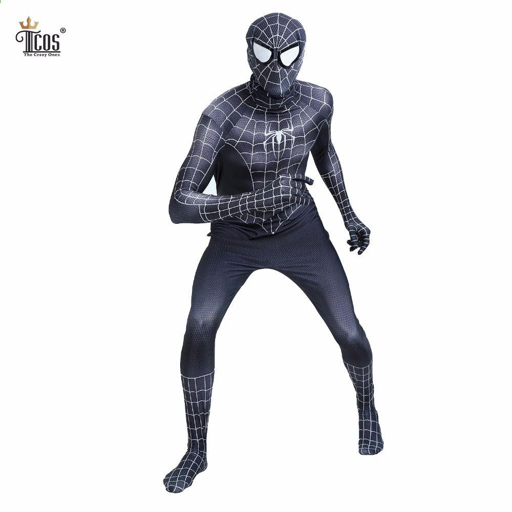 For Venom Black Spiderman Adult Cosplay Costume Party Dress Bodysuit Zentai Suit