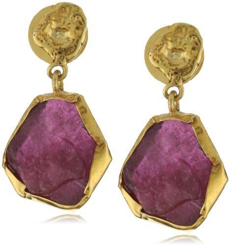 """Zariin """"The Spirited One"""" Ruby Gold Earrings Zariin. $109.68. Uncut stone drop in lush gold settings. 22k gold-plated earrings studded with bright uncut rubies in a gold collate. Total weight of Drop-Earrings is 8.8 grams. Made in India. Semi- precious stones are naturally occuring and there can be a slight variation in size and color of stones"""
