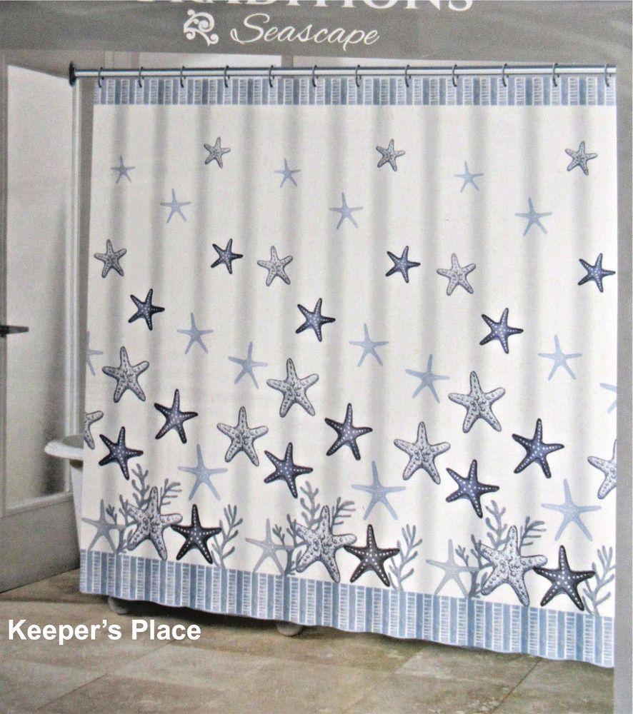 Tradition Seascape Starfish Beach Fabric Shower Curtain Blue