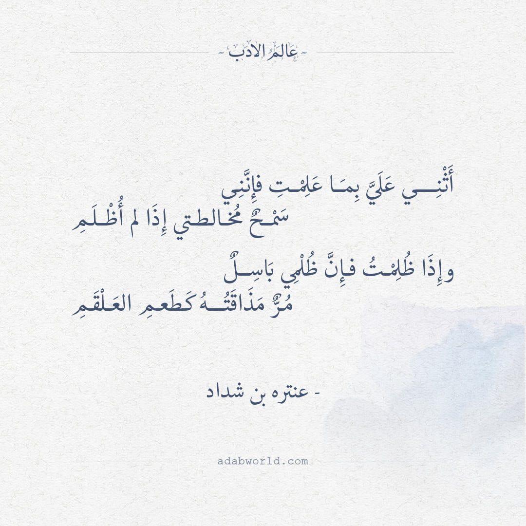 شعر عنترة بن شداد أثني علي بما علمت فإنني عالم الأدب Words Quotes Wisdom Quotes Life Wisdom Quotes