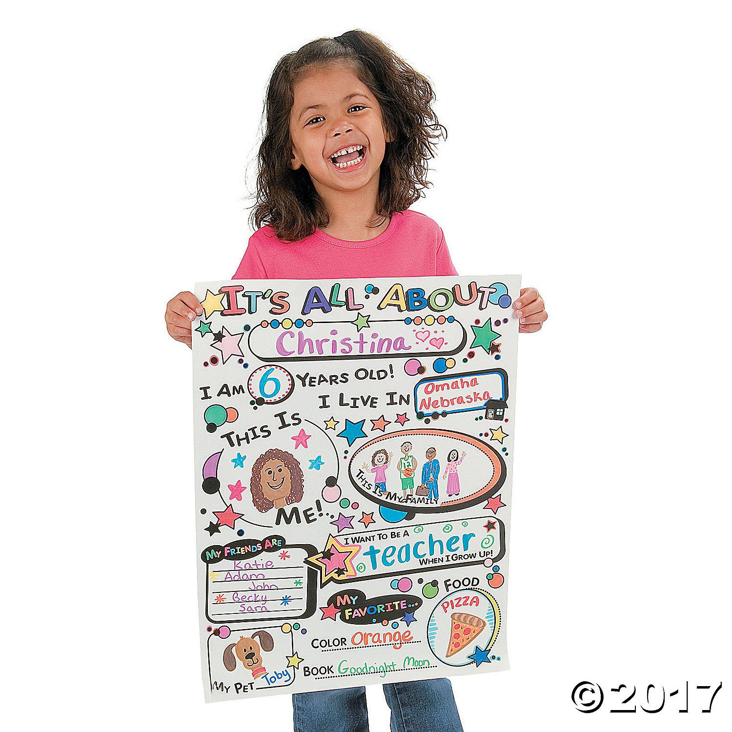 Color Your Own All About Me Posters White