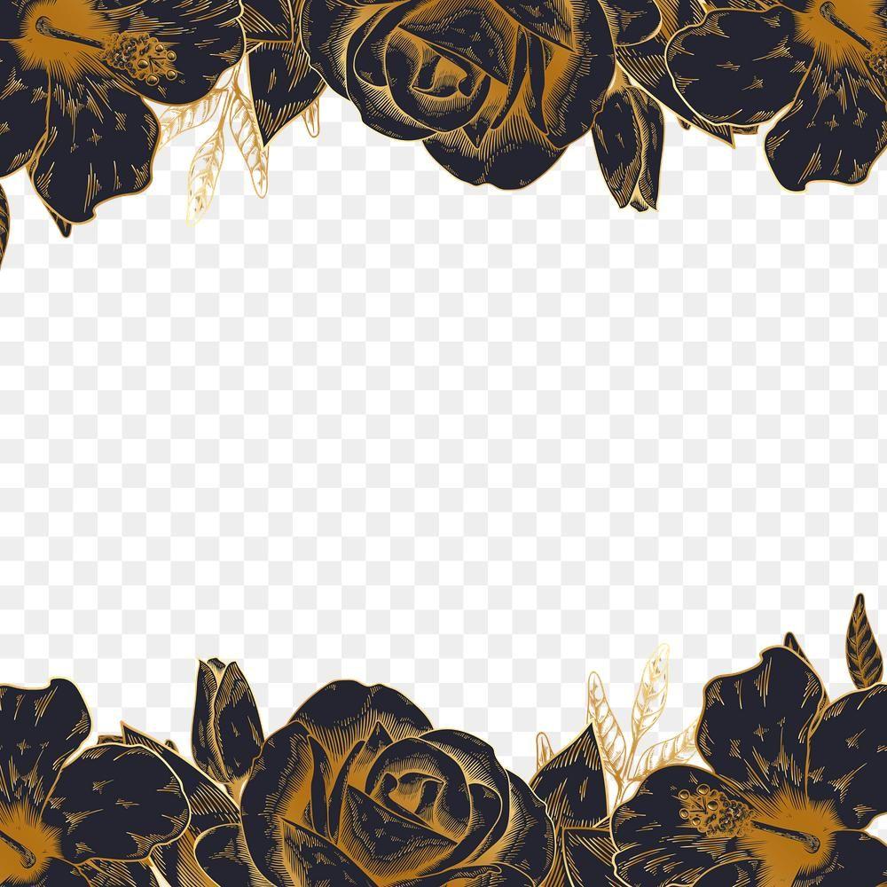 Download Premium Png Of Hand Drawn Black And Gold Rose Border Design How To Draw Hands Border Design Design Element