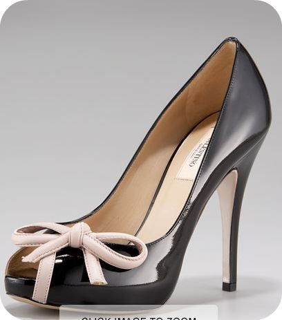 valentino black and cream patent bow pumps  valentino