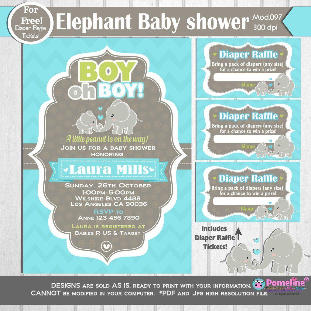 PRINTABLE Little Peanut Baby shower Invitation ||FREE diaper raffle ...