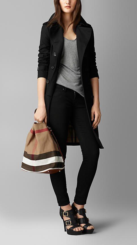 Saddle Brown Medium Canvas Check Hobo Bag Image 2