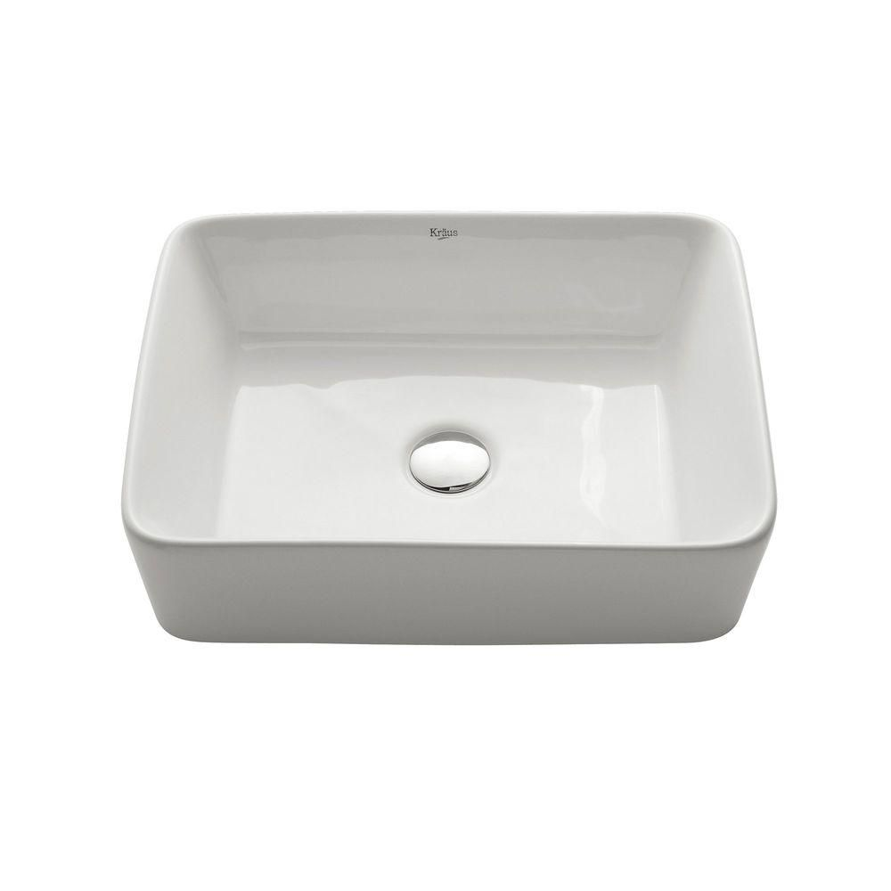 Kraus Rectangular Ceramic Vessel Bathroom Sink In White Sink