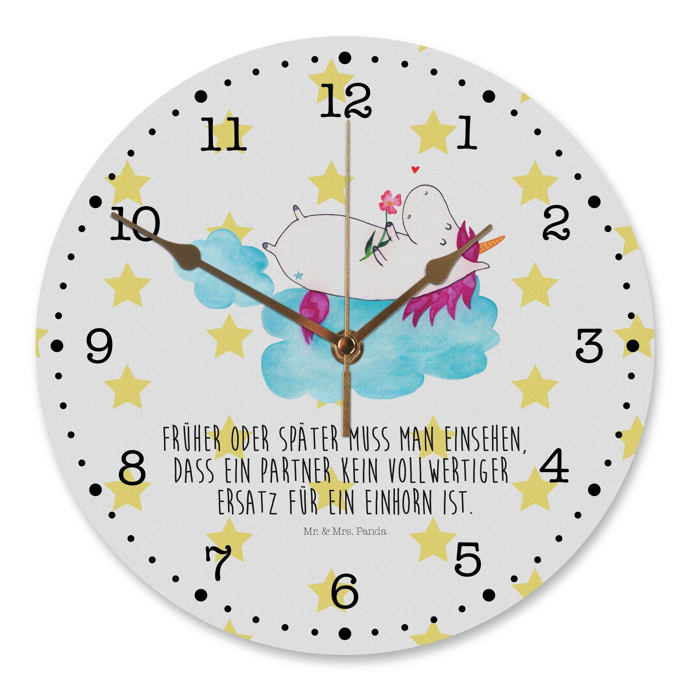 30 cm Wanduhr Einhorn verliebt auf Wolke aus MDF  Weiß - Das Original von Mr. & Mrs. Panda.  Diese wunderschöne Uhr von  Mr. & Mrs. Panda wird liebeveoll in unserem Hause bedruckt und an sie versendet. Sie ist das perfekte Geschenk für kleine und große Kinder, Weltenbummler und Naturliebhaber. Sie hat eine Grösse von 30 cm und ein absolut lautloses Uhrwerk.    Über unser Motiv Einhorn verliebt auf Wolke  Das verliebte Einhorn ist der beste Begleiter für jeden Single. Was will man denn mit…