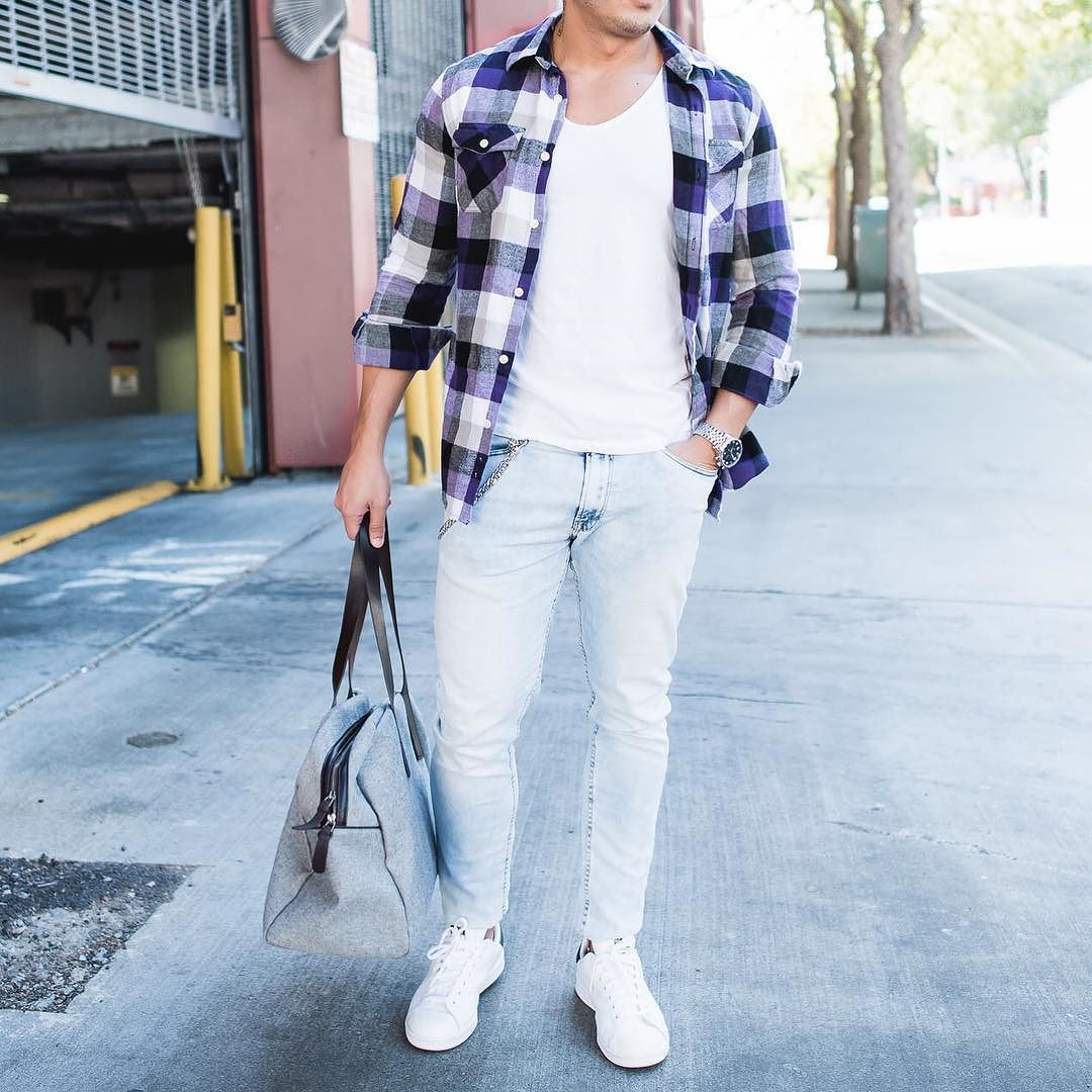 Plaid purple shirt light jeans and #stansmith sneakers  the bag is from @everlane  [ http://ift.tt/1f8LY65 ] #menwithstreetstyle #royalfashionist