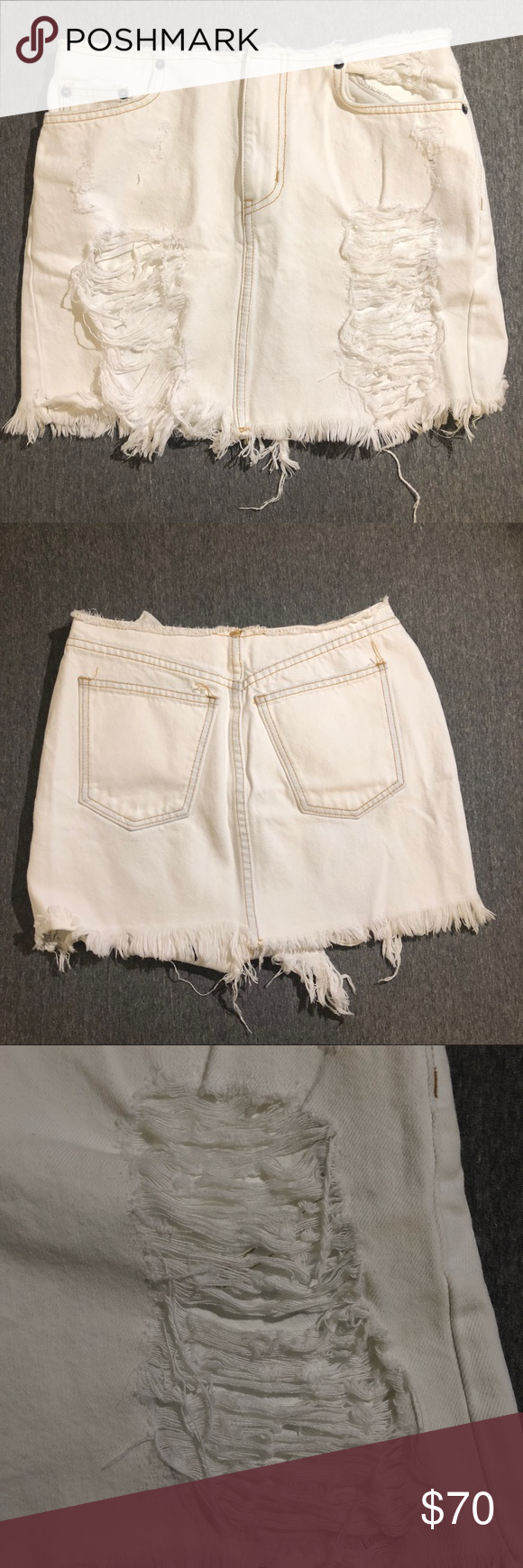 91673c8a5a Carmar White Denim Skirt White distressed denim skirt from LF. Size 26.  Never worn, tag still attached. LF Skirts Mini