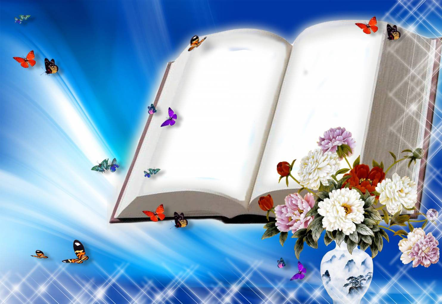 blank book with flowers and butterflies ppt backgrounds