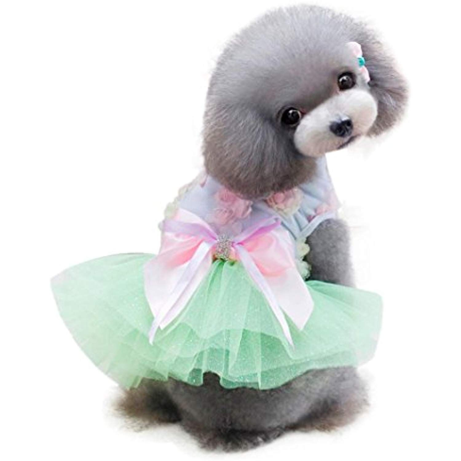 Neartime Puppy Dress Dog Clothes Pet Grid Skirt For Small Medium
