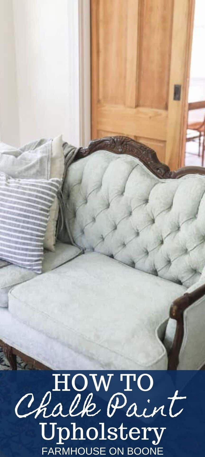 Learn how to easily transform outdated furniture by chalk painting upholstery. See how I updated an antique sofa and chair set with some chalk paint to bring it to life again. #farmhouseonboone #chalkpaint #chalkpaintupholstery