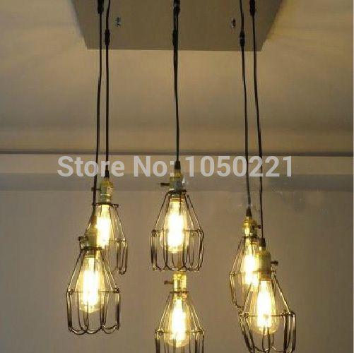 Goedkope Vintage stijl Plafond Lampen Edison 6 Bollen Plafond Lampen ...