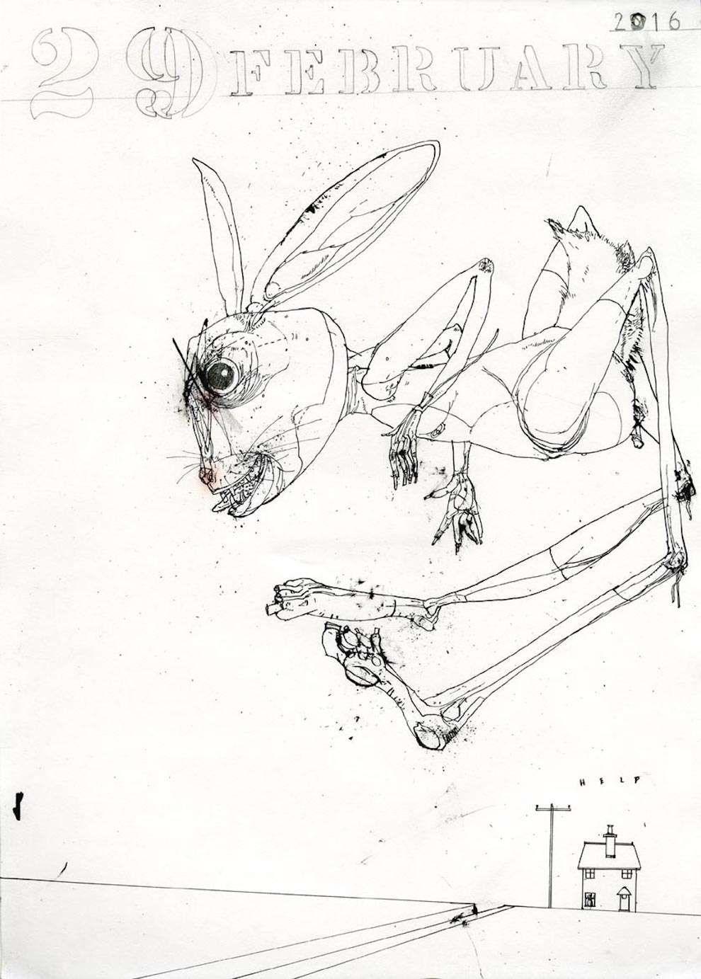 David Hughes, Line art illustration of a evil looking ...