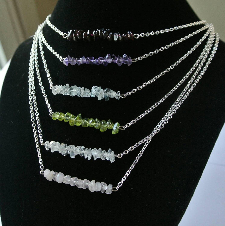 Birthstone Bar Necklace,  Minimalist Gemstone Necklace,  Custom Necklace, Layering Necklace, Handmade, Unique, One of a Kind,  Women, Teen by JensJemsWV on Etsy https://www.etsy.com/listing/215070421/birthstone-bar-necklace-minimalist