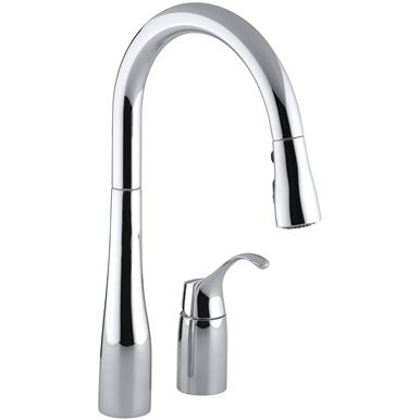 Kohler Simplice Single Handle Pull Down Kitchen Faucet Polished