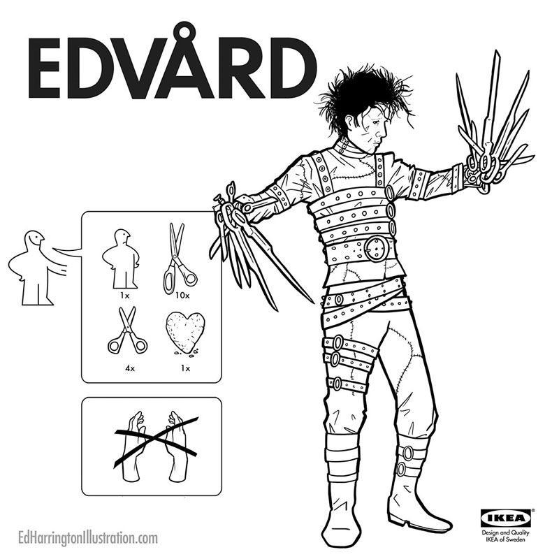 Ikea monster edvrd edward scissorhands nerdom pinterest ikea instructions or when the illustrator and graphic designer proposes you to assemble yourself the iconic characters of horror movies and pop culture solutioingenieria Image collections