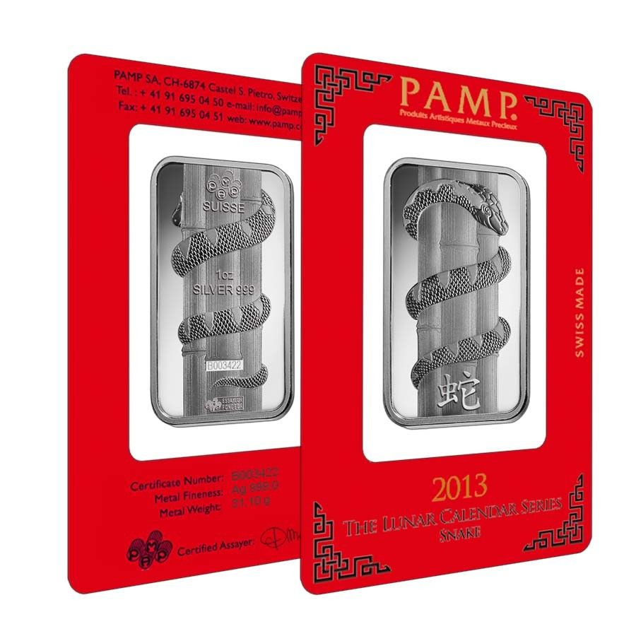 1 Oz Pamp Suisse Year Of The Snake Silver Bar In Assay Bullion Exchanges Silver Bars Year Of The Snake Silver