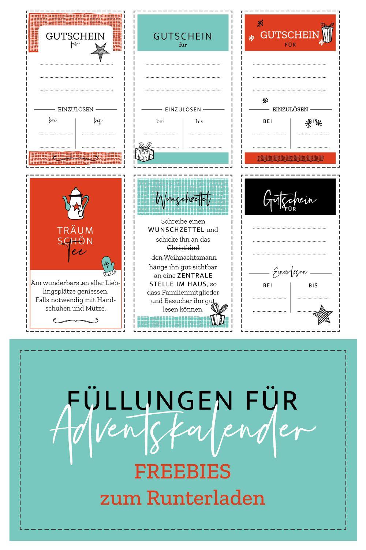 Freebie Adventskalender Fullen Adventkalender