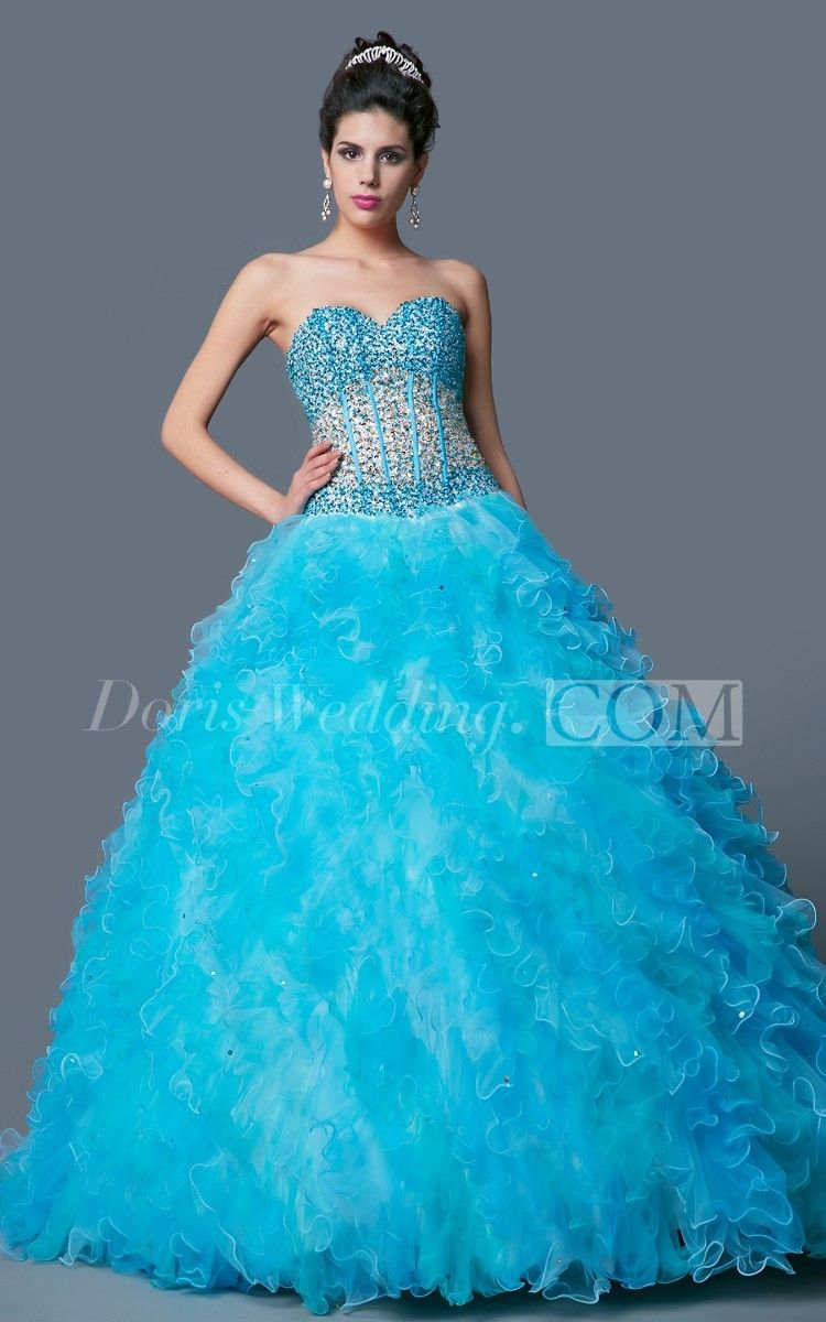 Dramatic Basque Bodice Ball Gown Sweet 16 Dress. #ballgown #sweet16 #DorisWedding.com