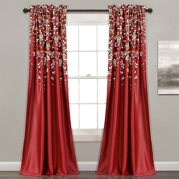 Red Weeping Flower Curtain Panel Set 84 In 97 CAD Liked
