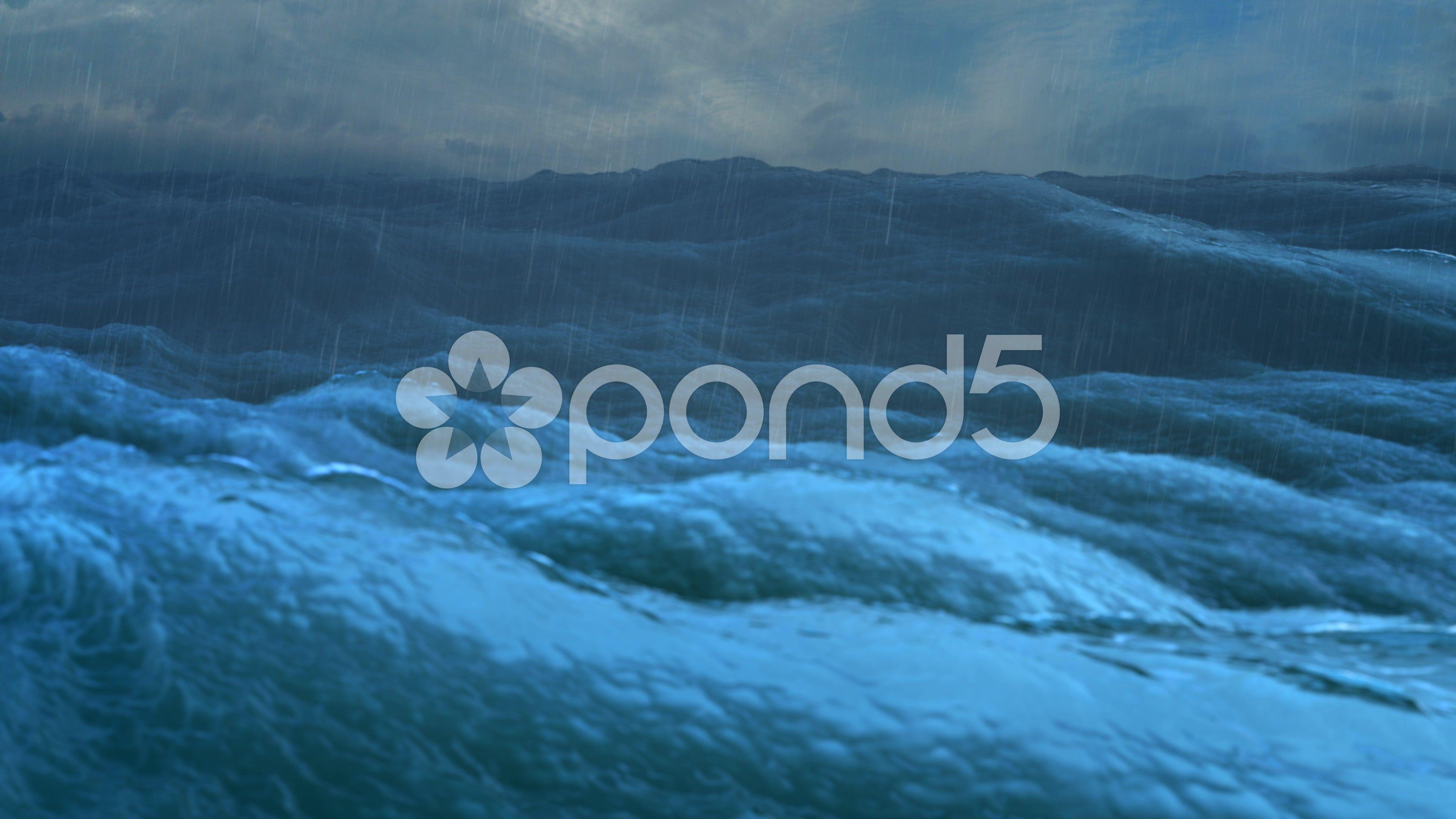Rough sea rain loop of big waves in an agitated ocean  Stock Footage