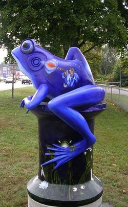 A frog I found next to the green in Willimantic. This one was definitely my favorite because it is purple!